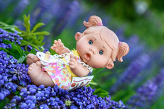 Doll with the  garden flowers Royalty Free Stock Image