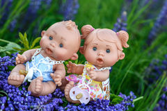 Doll with the  garden flowers Royalty Free Stock Photos