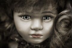 Doll With Grey Eyes and Brown Hair Royalty Free Stock Image