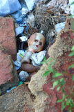 Doll in the gutter Stock Photos