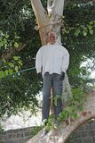 Doll hanging in a tree at the theater of horror tiberias Royalty Free Stock Photo