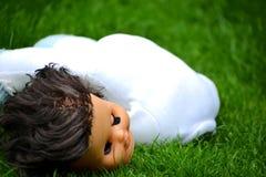 Doll hoofd en lichaam stock afbeelding