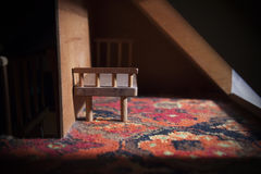 Doll House Bench Next To Window Royalty Free Stock Photo