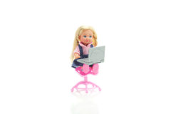 Doll with laptop Stock Photos