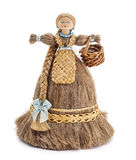 Wooden doll . Doll made of wood and linen. wooden doll, flax, souvenir,on a white background isolated stock images