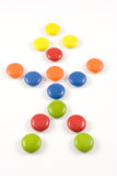 Doll made of colored smarties Royalty Free Stock Images