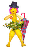 Doll made by pumpkins, periwig, hat and leaves Royalty Free Stock Photography