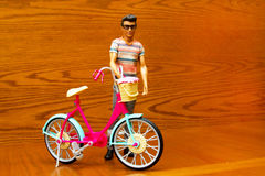 Doll man with a bicycle Stock Images