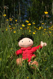 Doll in nature. Happy and smiling doll enjoying nature and flowers during summertime Royalty Free Stock Images