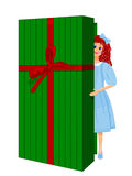 Doll Peeping out from Gift Box. Doll Peeping out from Red and Green Gift Box Doll and Gift Box are fully drawn behind Lid Royalty Free Stock Photography