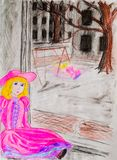 A doll in a pink dress sits by the window while her mistress walks outside in the courtyard. Sadness and longing in the hand-drawn picture vector illustration