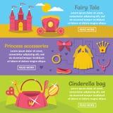 Doll princess banner horizontal set, flat style Royalty Free Stock Image