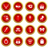 Doll princess items icon red circle set. Isolated on white background Stock Image