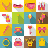 Doll princess items icons set, flat style Royalty Free Stock Image