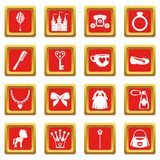 Doll princess items icons set red Stock Image