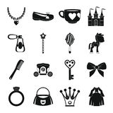 Doll princess items icons set, simple style Stock Photos