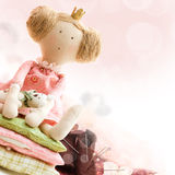Doll princess, textile and sewing accessory. Doll princess and textile and sewing accessory stock photography