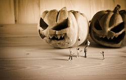 doll and pumpkin for halloween with black and white tone Stock Photos