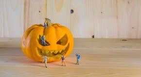 doll and pumpkin for halloween Stock Photos
