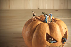 Doll and pumpkin for halloween Royalty Free Stock Photo