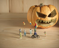 doll and pumpkin for halloween Stock Image