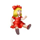 Doll in red dress isolated Royalty Free Stock Image