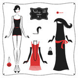 Doll_retro 20s. Doll paper and set of dresses in vintage style 1920`s. Retro fashion vector illustration isolated on white background Stock Photos