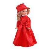 Doll in rode kleding Stock Afbeelding