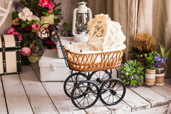 Doll's pram. Vintage doll stroller. Retro cart dolls stock images
