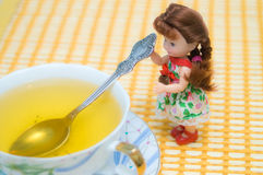 Doll serving tea. Small beautiful doll serving green tea Royalty Free Stock Photo