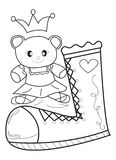 Doll and Shoe coloring page Royalty Free Stock Images