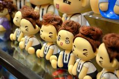 Doll. Shopping malls in the rows of cloth doll Stock Image