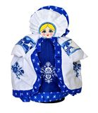 Doll teapot cover in Russian Gzhel traditional costume. Moscow, Russia royalty free stock photos