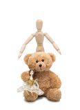 Doll, Teddy and man. Group photo of the best friends of my childhood Stock Image