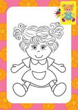 Doll toy. Coloring page Stock Image