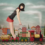 Doll on the toy train. Doll on a toy train. Fairy tale illustration with doll houses and train. Computer graphics vector illustration