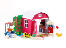 Doll toys and there barn house Royalty Free Stock Photography