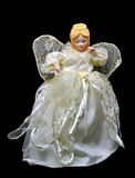Doll van de Engel van de Fee van Kerstmis dat op Zwarte wordt geïsoleerdo Stock Afbeelding