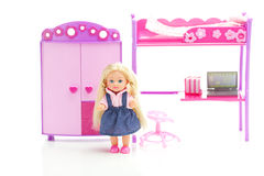 Doll, wardrobe , bed, chair and laptop Stock Image