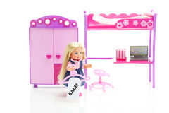 Doll, wardrobe , bed, chair and laptop Stock Images
