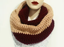 Doll wearing crochet scarf - fashion  clothing icon Stock Photos