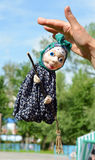 Doll Witch (Baba Yaga) with a broom Stock Photo