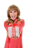 Doll woman with gift box royalty free stock photography