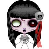 Doll Zombie Creepy Halloween Monster. Creepy Zombie Doll Monster Portrait, with skull as ornaments on Hair and as Necklace, empty Evil Eyes, and Blood on her royalty free illustration