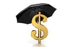 Dolla Under Umbrella Computer Generated Image. Computer generated dollar under umbrella isolated on white vector illustration