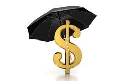 Dolla unter Regenschirm-computererzeugtem Bild Lizenzfreie Stockfotos