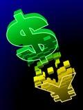 Dollaränderungen an chinesischem Yuan Stockfotografie