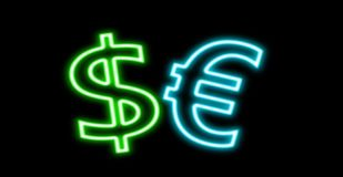Dollar $ € Euro finance neon sign glow isolated on black royalty free stock image