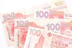 100 dollar är den nationella valutan av Hong Kong Arkivbilder