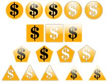 The dollar. Set of dollar icons, created with inkscape stock illustration